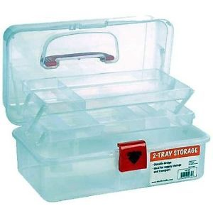 Artist Essential 12 inch Plastic Art Supply Craft Storage Tool Box Semi Clear