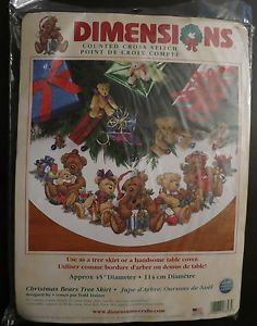 "New ""Christmas Bears Tree Skirt"" Dimensions Cross Stitch Kit Todd Trainer"