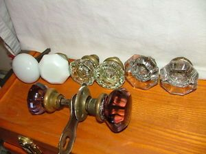 Antique Octagonal Crystal Glass Purple Glass Door Knob 8 PC Knob Lot