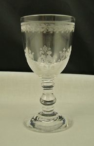 Antique Etched Crystal Cordial Goblet Glass