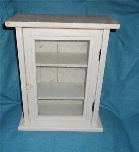 Vintage White Wood Curio Wall Table Display Cabinet