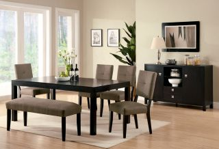 6 Piece w Bench Modern Espresso Finish Dining Table Set Room Wood Furniture New