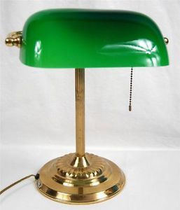 Vintage Brass Base Bankers Table Lamp Green Glass Shade Study Student Desk