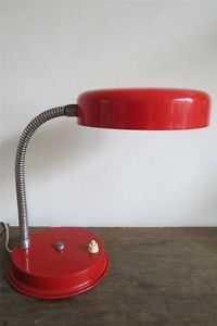 Vintage Table Lamp Light Retro Red Metal Gooseneck Desk Reading Lamp Light