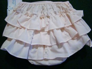 Baby Girls Pink White Batiste Newborn Diaper Covers w Ruffles Embroidery NWT