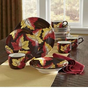 16 Piece Dinnerware Set Hand Painted Fall Leaves Autumn Thanksgiving Leaf New