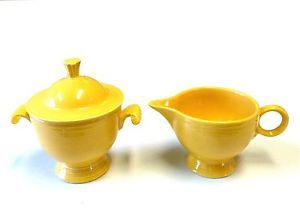 Vintage Fiesta Ware Yellow Creamer Sugar Bowl with Lid