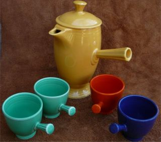 Vintage Homer Laughlin Fiesta Ware Yellow Demitasse Stick Coffee Pot and Cup
