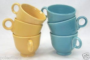 6 Vintage 1930's Homer Laughlin Fiesta Ware Turquoise Blue Yellow Tea Cups