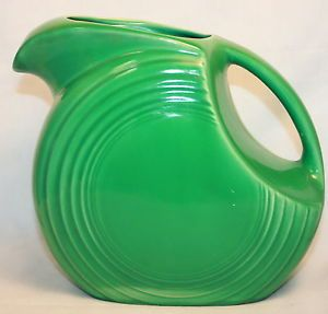 "Vintage Fiesta Ware Large Green Disc Pitcher Homer Laughlin 7 1 2"" Tall 67 Oz"