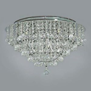 "20"" Luxema Ceiling Flush Mount Crystal Lighting Fixture Chandelier w 8 Lts CH"
