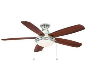 Hampton Bay Burgess 52 in Flush Mount Brushed Nickel Ceiling Fan