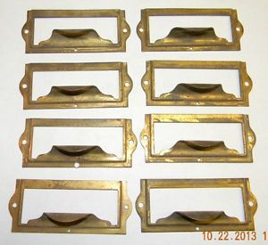 8 Antique Brass File Cabinet Pulls Card Holders