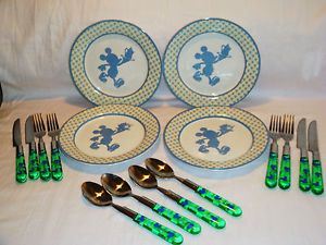 Disney China Plates Stainless Flatware Silverware Mickey Mouse Set for 4