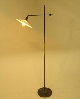Art Deco Industrial Adjustable Brass Bronze Floor Lamp