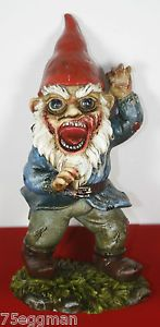25cm Tall Zombie Undead Garden Gnome on Base Scary Halloween Horror Ornament