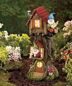 Solar Gnome Tree House Decor Light Statue Dwarf Garden Yard Lawn Outdoor Patio