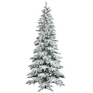 Vickerman 7.5 x 43 Flocked Utica Fir Tree With 1019 PVC Tips & 400 Warm Italian LED Light, White