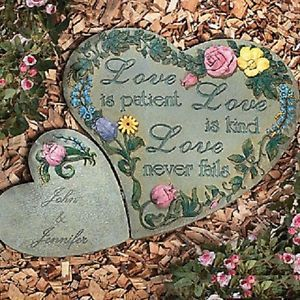 Two Hearts Garden Stepping Stones w Personalization Flowers Love Poem New
