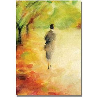 Trademark Global Beverly Brown Woman Walking in Autumn Leaves Canvas Art, 47 x 30