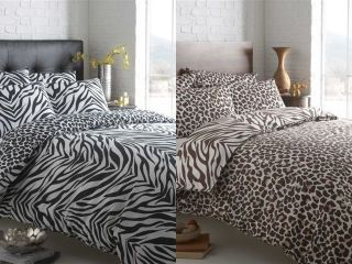 Animal Zebra Leopard Print Revsersible Duvet Cover Bed Set