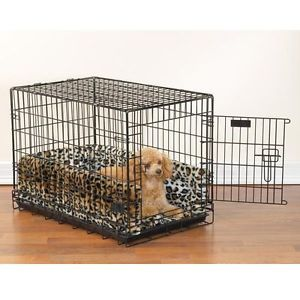 "New Luxury Plush Fur Leopard Print Pet Dog Crate Bed Size Small 17"" x 24"""