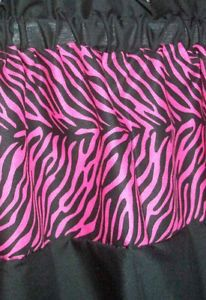 Large Girls Zebra Animal Print Hot Pink Window Treatment Bed or Bath Valance