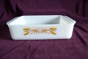 Fire King Wheat Milk Glass Square Cake Pan Baking Dish Anchor Hocking