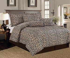 Beautiful 7 PC Brown and Beige Leopard Print Faux Fur Comforter Bedding