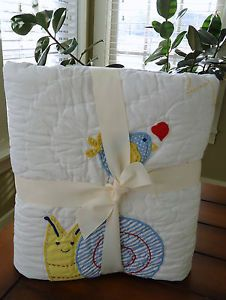 Pottery Barn Kids Baby Boy Cheerful Critter Nursery Bedding Quilt Sham Set New