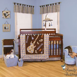Baby Boy Girl Unisex Neutral Music Themed Crib Nursery Linen Bedding Quilt Set
