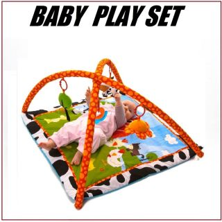 New Baby Toy Activity Red Kite Farm Yard Gym Play Mat Funky Color