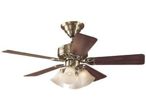 Hunter The Continental 44 inch Ceiling Fan w Light Kit Antique Brass