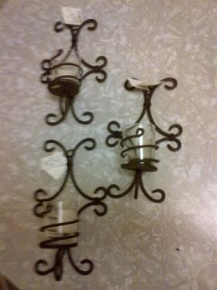 Set of Three Wrought Iron Wall Sconces Votive Candle Holders
