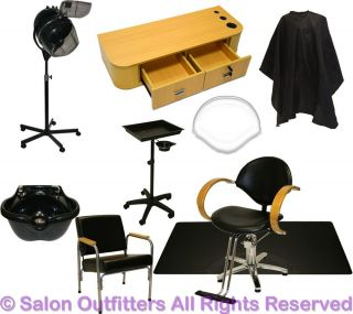 1 Oak Station Hydraulic Barber Chair Shampoo Bowl Hair Dryer Mat Salon Equipment