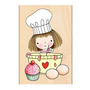 New Penny Black Yummy Mimi Rubber Stamp Mimi Girl Baking Cooking Cupcake