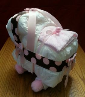 Bassinet Diaper Cake Baby Shower Decor Gift Brown Pink Dots