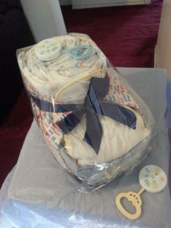 Baby Bootie Diaper Cake Boy Baby Shower Centerpiece Gift