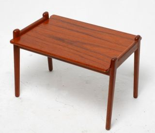 Danish Modern Teak End Side Table with Lift Off Tray Top