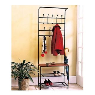 New Hall Tree Bench Coat Rack Entry Way Mud Room Wooden Seat Metal Storage Shoes