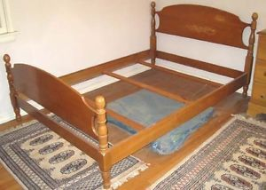 Country Four Post Wooden Bed Headboard and Footboard Full Mid Century