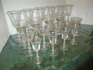 Antique Lead Crystal Stemware with Flower Pattern 19 Piece Set