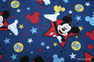 Handcrafted Curtain Valance Sewn from Disney Mickey Mouse Red Stars Blue Fabric