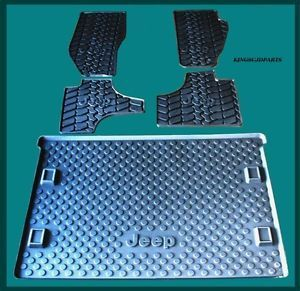 2011 2012 Mopar Jeep Liberty Rubber Slush Floor Mats and Cargo Tray Set