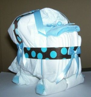 Bassinet Diaper Cake Baby Shower Gift Brown Blue Dots