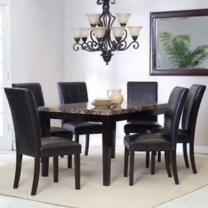 Modern 7 Piece Set Rectangular Casual Marble Dining Room Table Kitchen Furniture