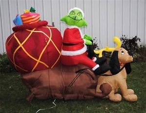 Gemmy Airblown Inflatable Grinch in Sled w Max Christmas 7 Foot Long RARE