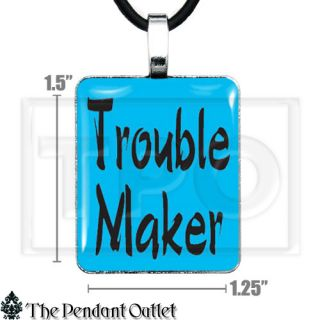 Trouble Maker Punk Rebel Attitude Cute Girl Kid Teen Key Chain Pendant Necklace