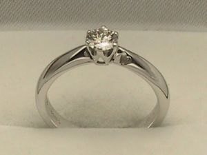 18ct 18K White Gold Diamond Solitaire Ring 0 33POINTS 1 3 Carat UK Size M 1 2