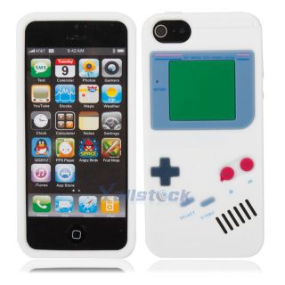 White Funny Game Boy Style Silicone Case Cover Skin for iPhone 5 5g 5th